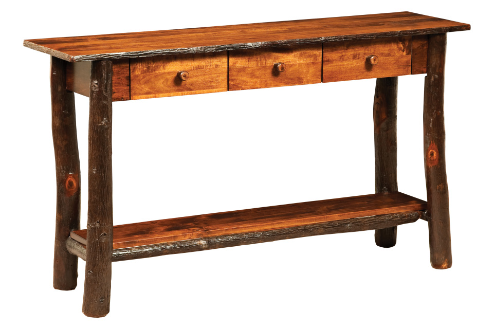 Hickory lakeside sofa table with 3 drawers for Furniture gallery lakeside
