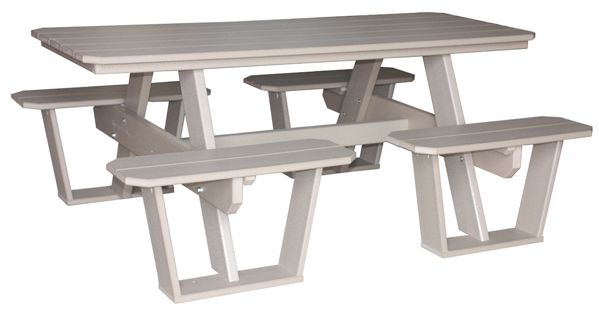 Poly Wood Split Bench Picnic Table - 7 foot picnic table